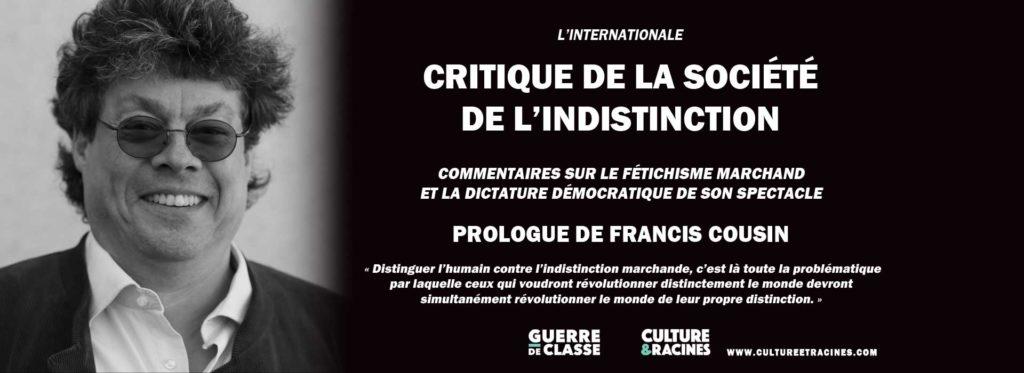 Annonce de la réédition de la Critique de la société de l'indistinction…